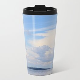 Blue Lakescape With White Clouds In The Blue Sky #decor #society6 Travel Mug