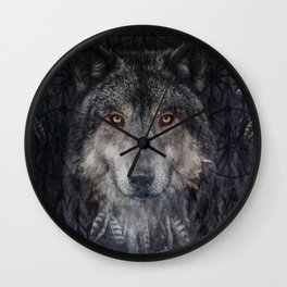 Winter mode - Wolf Dreamcatcher Wall Clock
