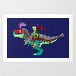 Dino Knight T-Rex Art Print