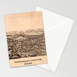 Aerial View of Townsend Center, Massachusetts (1889) Stationery Cards