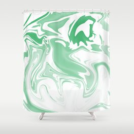 Green Abstract Ink Shower Curtain