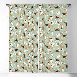 beagle scatter mint Blackout Curtain