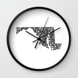 Typographic Maryland Wall Clock