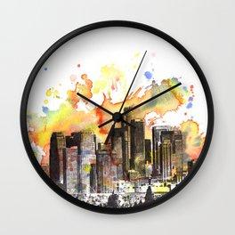 Los Angeles Cityscape Skyline Painting Wall Clock
