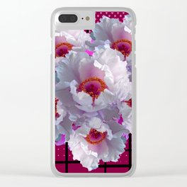 MODERN WHITE TREE PEONY FLOWERS  BURGUNDY-BLACK ART Clear iPhone Case