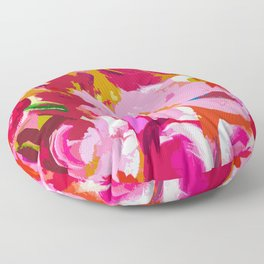 Abstracted Flower Painting in Hot Pink, red, spring green Floor Pillow