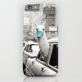 Mint Green Bubble Gum Llama taking a New York Taxi black and white photograph iPhone Case