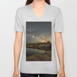 Milkyway at Halibut Point State Park quarry Unisex V-Neck