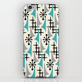 Mid Century Modern Atomic Wing Composition Blue & Grey iPhone Skin