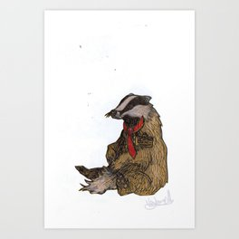 Badger with a Badge Art Print