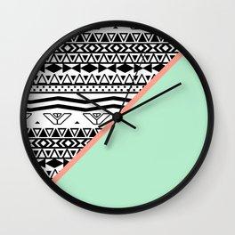 Block | Black White Aztec Pattern Mint Green Color Block Wall Clock