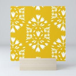 folk art flower pattern yellow Mini Art Print