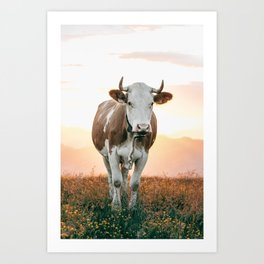 Cow enjoying Sunset in the Mountains | Landscape Photography Alps | Print Art Art Print