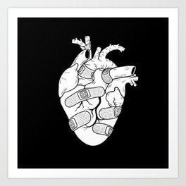 BAND-AID Heart Dark Art Print