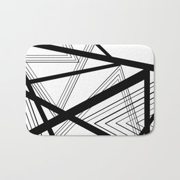 Black and White Abstract Geometric Bath Mat