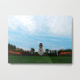 Garden and Lighthouse at the bottle houses Metal Print