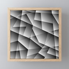Exclusive monochrome pattern of chaotic black and white geometric shapes. Framed Mini Art Print