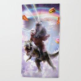 Laser Eyes Space Cat On Sloth Dinosaur - Rainbow Beach Towel