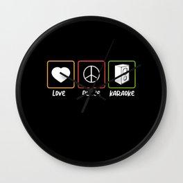 Love Peace Karaoke Bar Music Lover Singer Concert Wall Clock