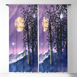 Mountains and Fields Watercolor Blackout Curtain