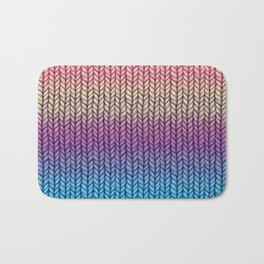 Rainbow Gradient Chunky Knit Pattern Bath Mat
