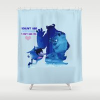monster inc Shower Curtains featuring Monsters Inc by Keri Lynne