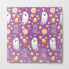 October Halloween halloween ghost sweets rip pink Metal Print