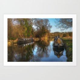 Narrow Boats At Woolhampton Art Print