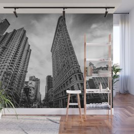 Flat Iron Building, Manhattan New York City Skyline black and white photograph by Marcela Wall Mural