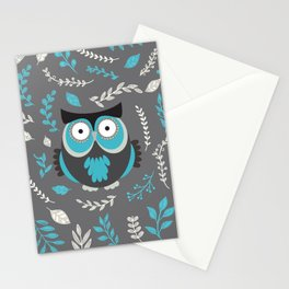 BLUE OWL AND LEAVES Stationery Cards