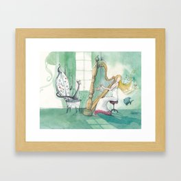 A moment with my harp... Framed Art Print