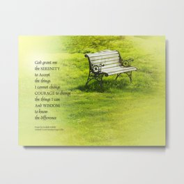Serenity Prayer Bench Metal Print