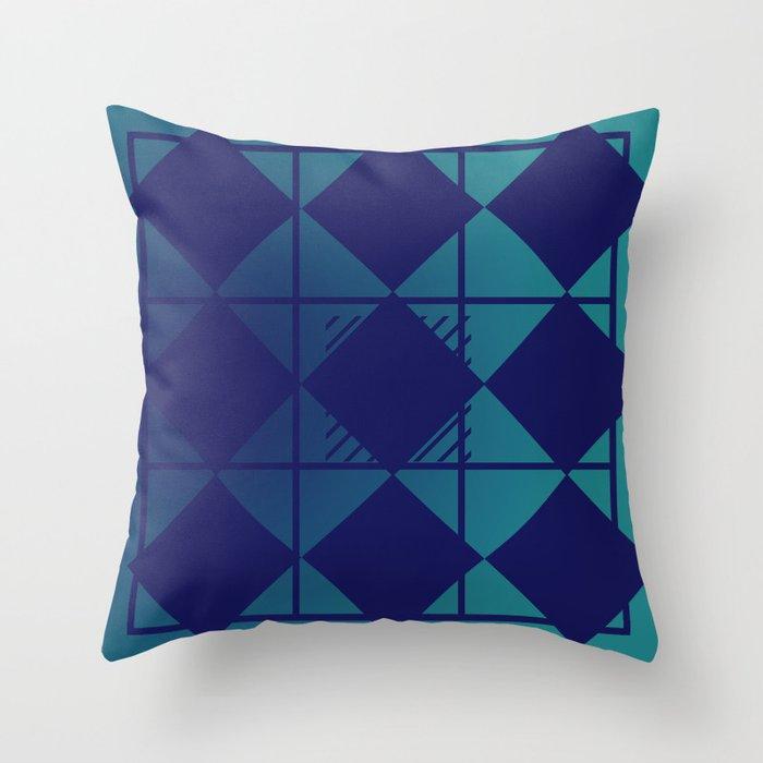 Blue,Diamond Shapes,Square Throw Pillow
