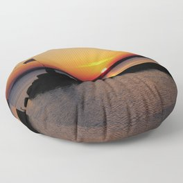 A beautiful sunset view of Lough Neagh Floor Pillow