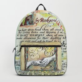 "Calligraphy of the poem ""IF"" by Rudyard Kipling Backpack"