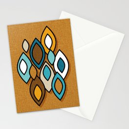 Mid Century Modern Scandinavian Leaves // Turquoise, Brown, Khaki, Marigold Yellow Stationery Cards