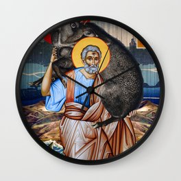 St Peter and the holy Boar of Clonrichert Wall Clock