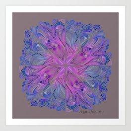 Triangles Mandala - Indigo on Gray Art Print