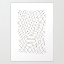 Fish net / black on white distorted geometry Art Print