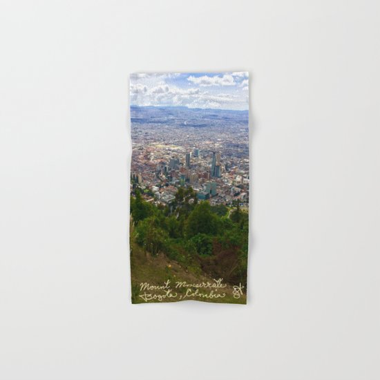 Mount Monserrate, with a 10,000 ft view of Bogota Colombia Hand & Bath Towel