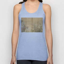 Japanese Edo Period Six-Panel Gold Leaf Screen - Spring and Autumn Flowers Unisex Tanktop