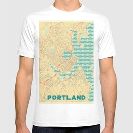 Portland Maine Map Retro T-shirt
