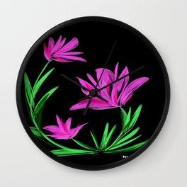 Night Flower Pink Wall Clock