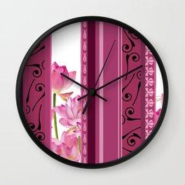 Vertical Stripes Flower pattern pink Wall Clock