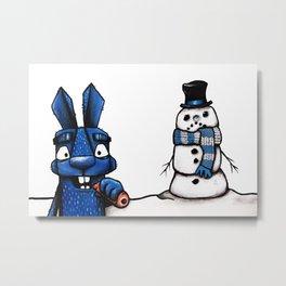 Bizarre Bunny Christmas Metal Print