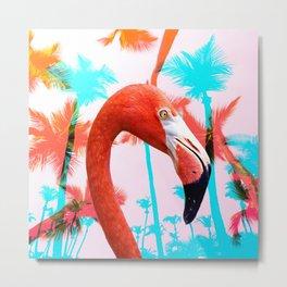 Bright Pink Tropical Flamingo Metal Print