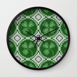 Four leaf clover St Patrick's Day Wall Clock