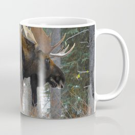 Massive male moose on the loose in Jasper National Park Coffee Mug