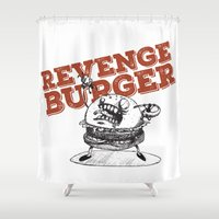 gore Shower Curtains featuring Revenge Burger by flydesign