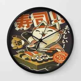 Cat Sushi Wall Clock